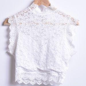 Bebe White Lace Crop Top, Sz S